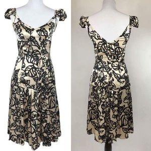 Tracy Reese Champagne & Black Print Silk Dress.